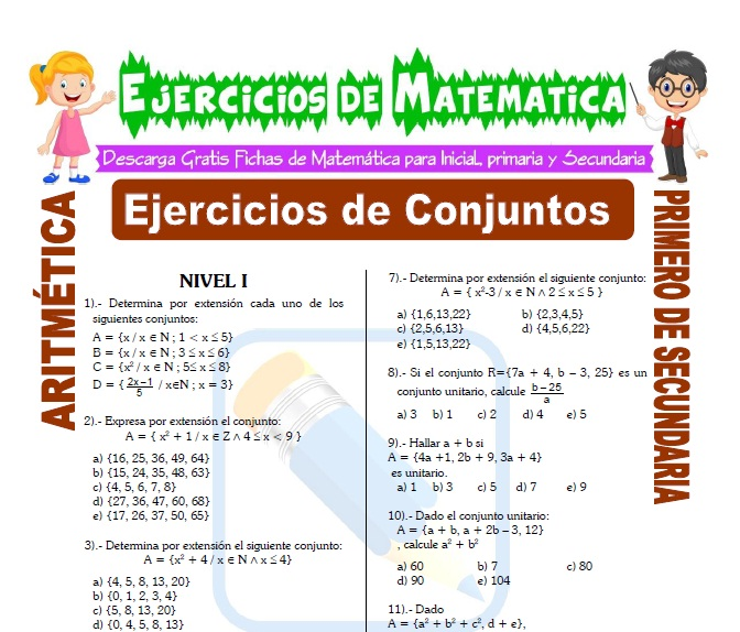 Ejercicios De Conjuntos Para Segundo De Secundaria Matemática