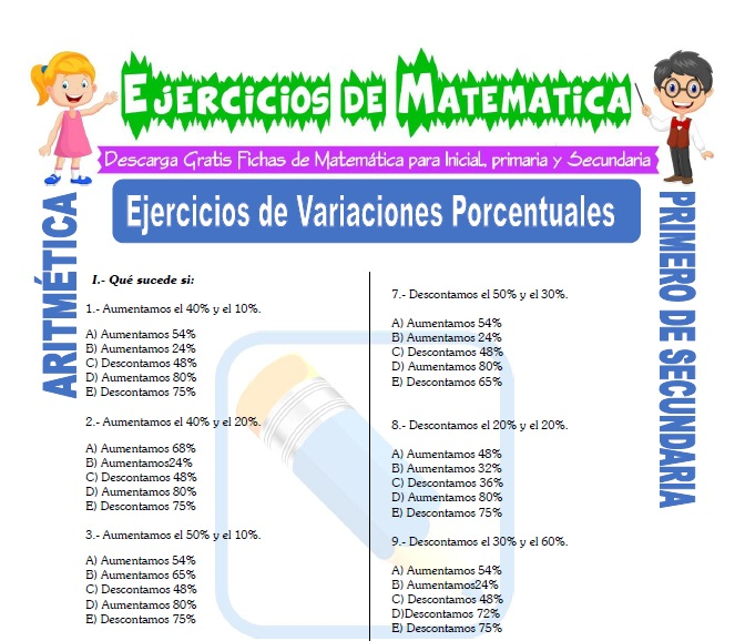 Ejercicios de Variaciones Porcentuales para Primero de Secundaria