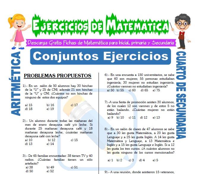 Conjuntos Ejercicios Para Cuarto De Secundaria Matemática