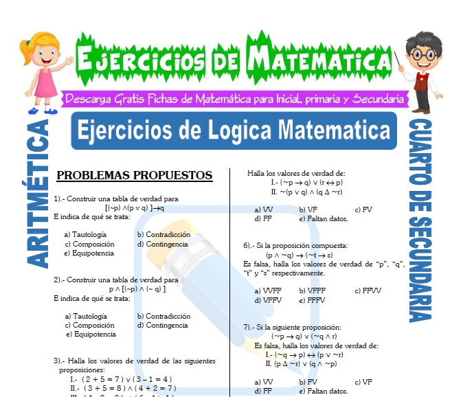 Ejercicios de Logica Matematica para Estudiantes de Cuarto de Secundaria