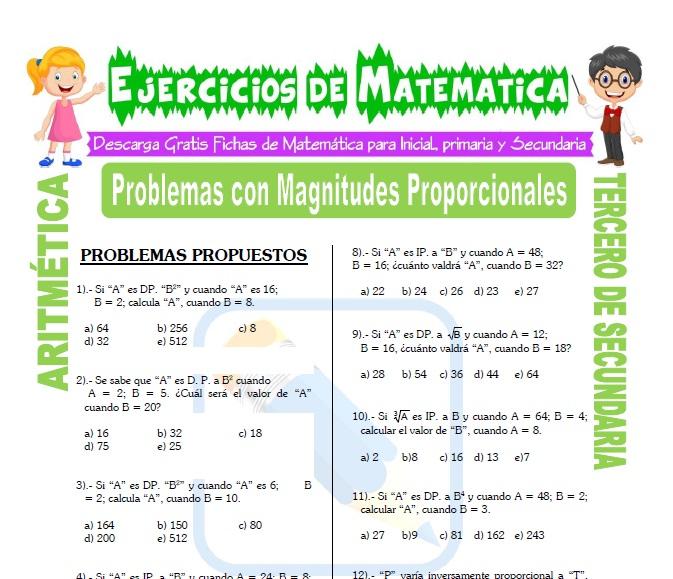 ficha de Problemas con Magnitudes Proporcionales para Estudiantes de Tercero de Secundaria
