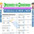 Problemas de MCM y MCD para Cuarto de Secundaria