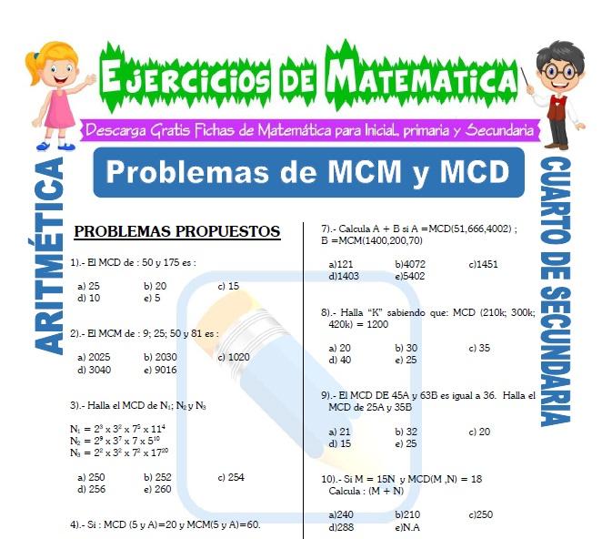 Problemas de MCM y MCD para Estudiantes de Cuarto de Secundaria