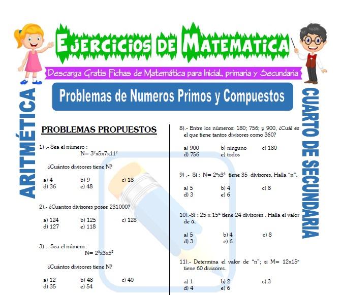 Problemas con Numeros Primos y compuestos para Estudiantes de Cuarto de Secundaria