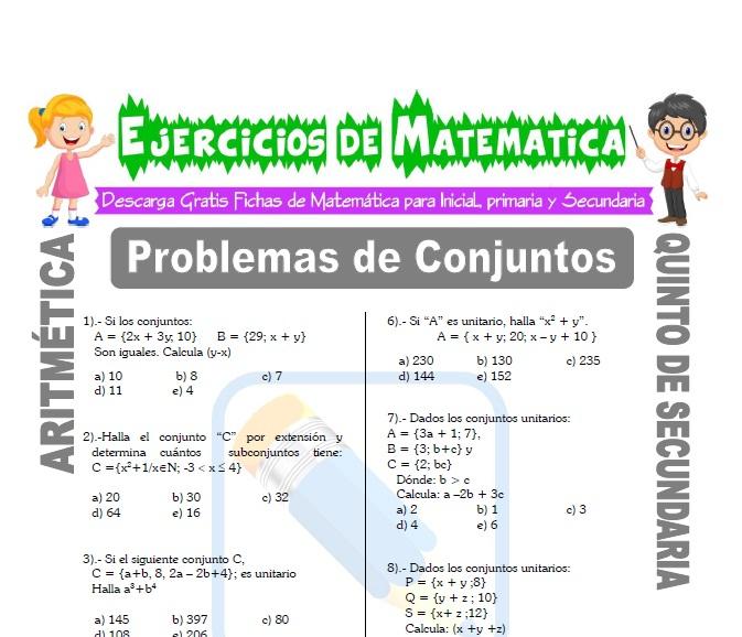 Problemas De Conjuntos Para Quinto De Secundaria Matemática