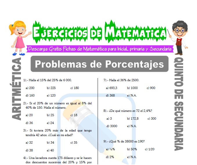ficha de Problemas de Porcentajes para Estudiantes de Quinto de Secundaria