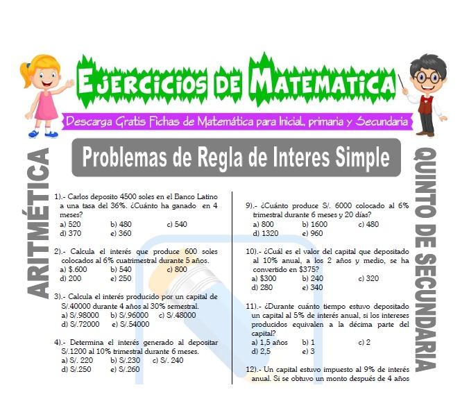 ficha de Problemas de Regla de Interes Simple para Estudiantes de Quinto de Secundaria