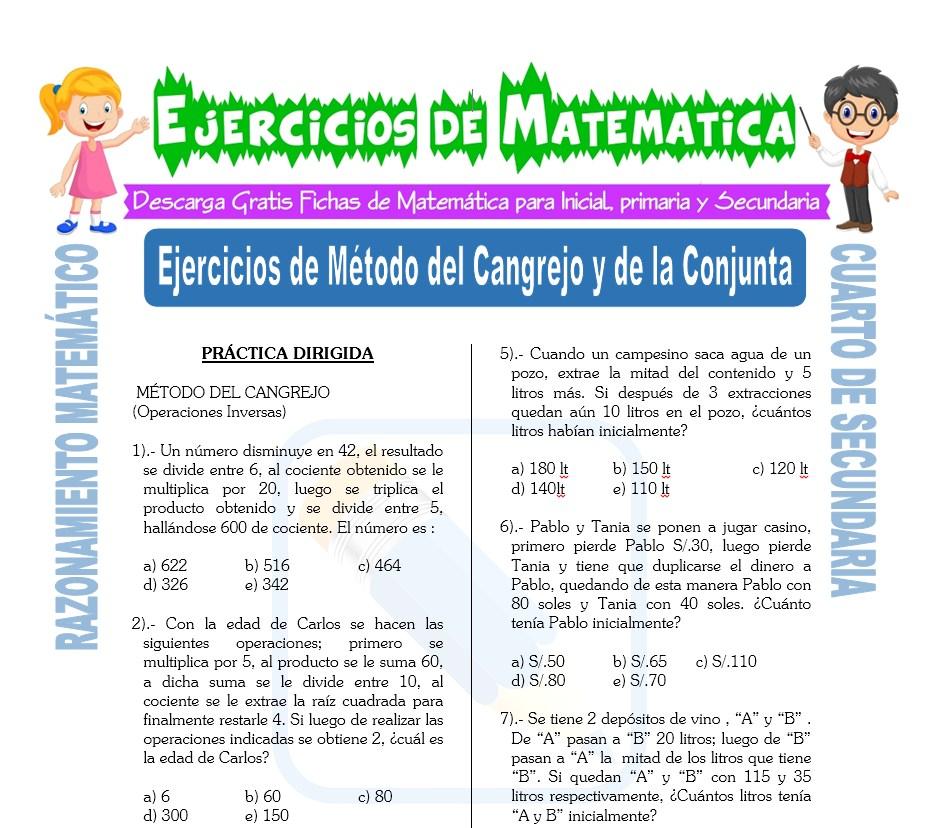 Ficha de Ejercicios de Método del Cangrejo y de la Conjunta para Estudiantes de Cuarto de Secundaria