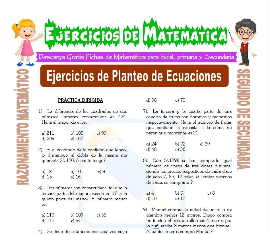 Ejercicios De Planteo De Ecuaciones Para Segundo De Secundaria