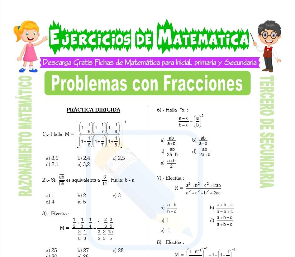 Problemas Con Fracciones Para Tercero De Secundaria Matematica