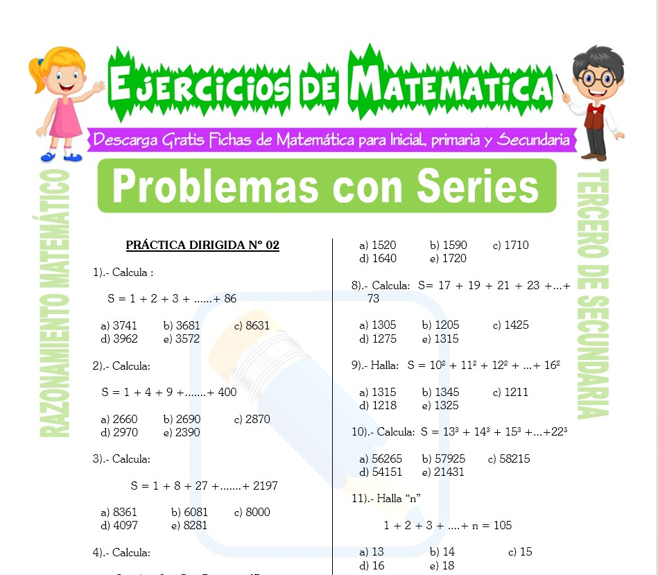 Ficha de Problemas con Series para Estudiantes de Tercero de Secundaria