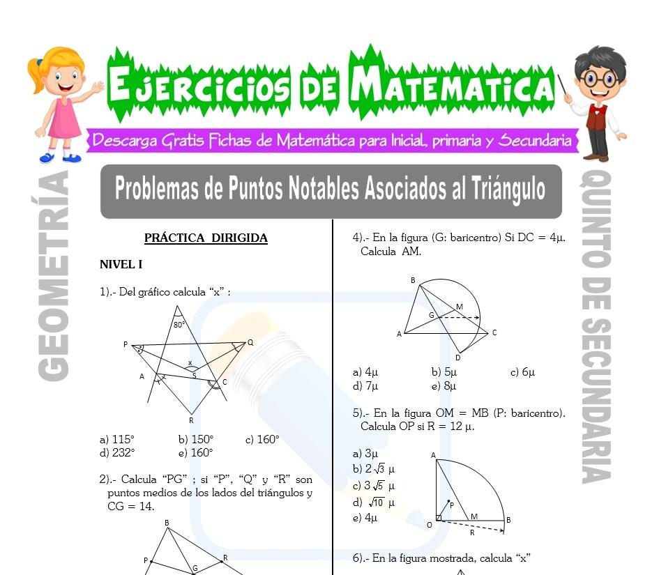 Ficha de Problemas de Puntos Notables Asociados al Triángulo para Estudiantes de Quinto de Secundaria