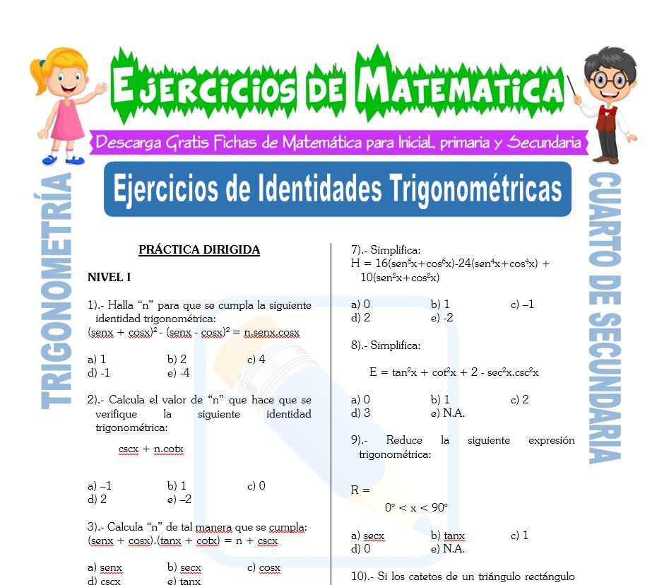 Ejercicios de Identidades Trigonométricas para Cuarto de Secundaria