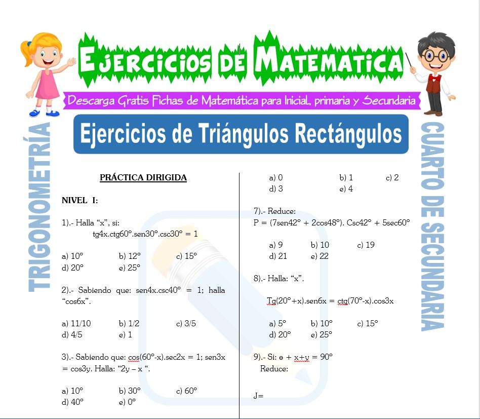 Ficha de Ejercicios de Triángulos Rectángulos para Estudiantes de Cuarto de Secundaria