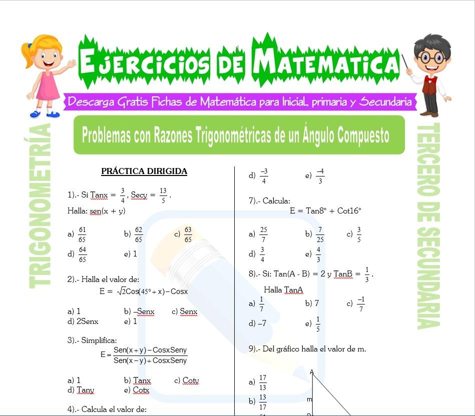 Ficha de Problemas con Razones Trigonométricas de un Ángulo Compuesto para Estudiantes de Tercero de Secundaria