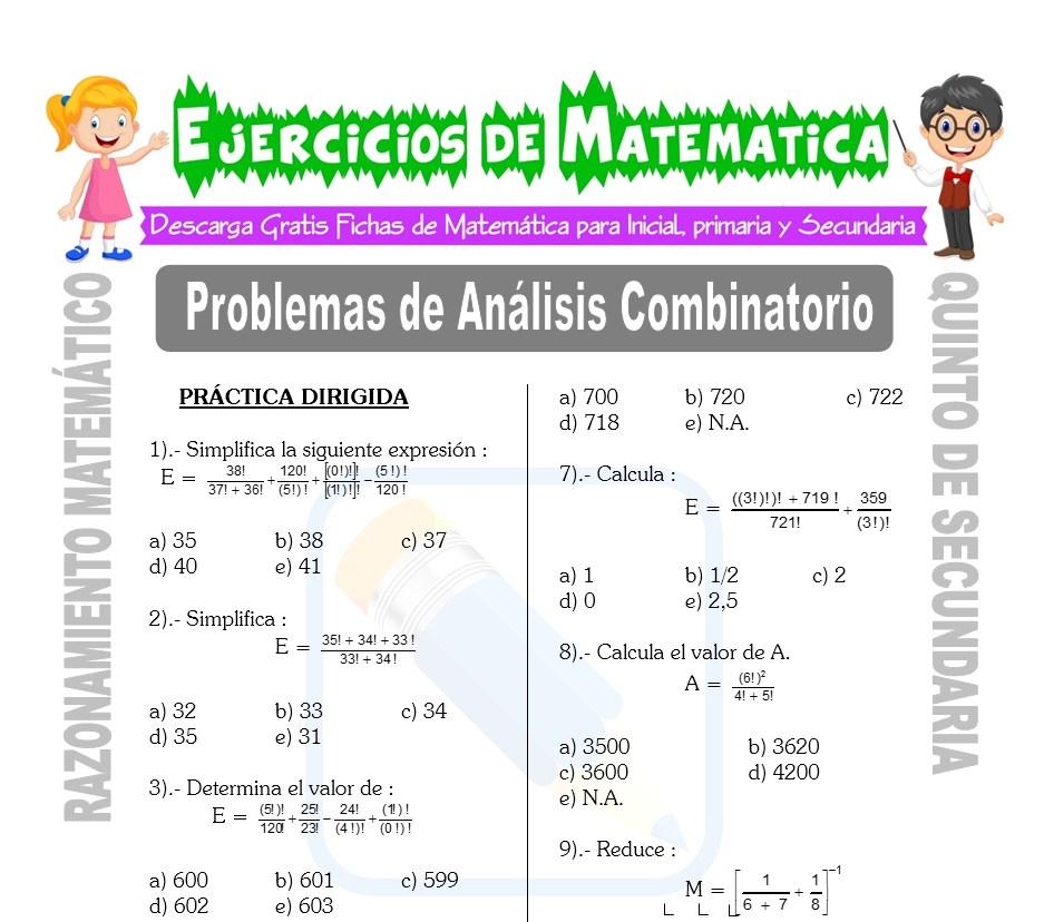 Ficha de Problemas de Análisis Combinatorio para Estudiantes de Quinto de Secundaria