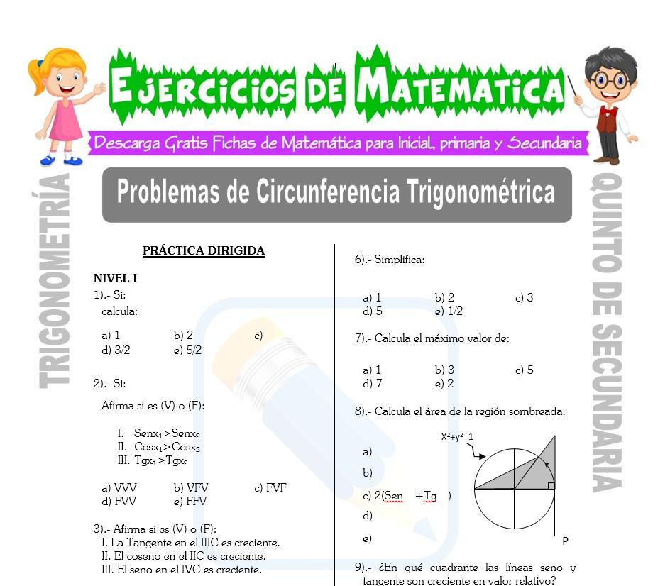 Ficha de Problemas de Circunferencia Trigonométrica para Estudiantes de Quinto de Secundaria