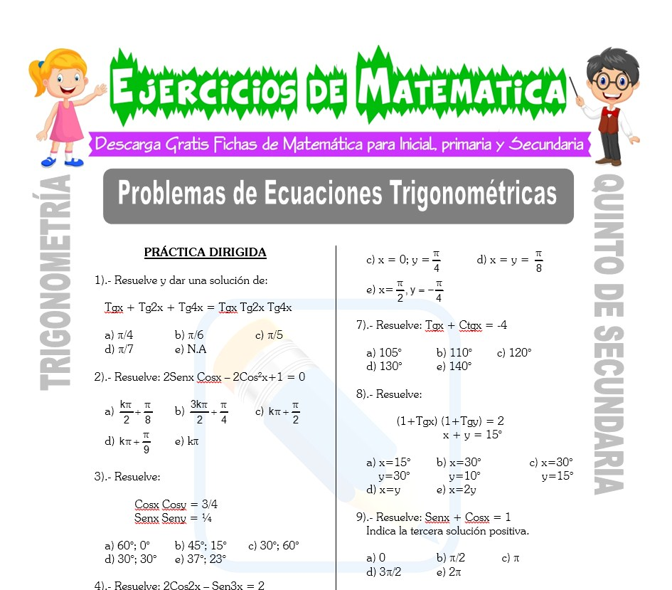 Ficha de Problemas de Ecuaciones Trigonométricas para Estudiantes de Quinto de Secundaria
