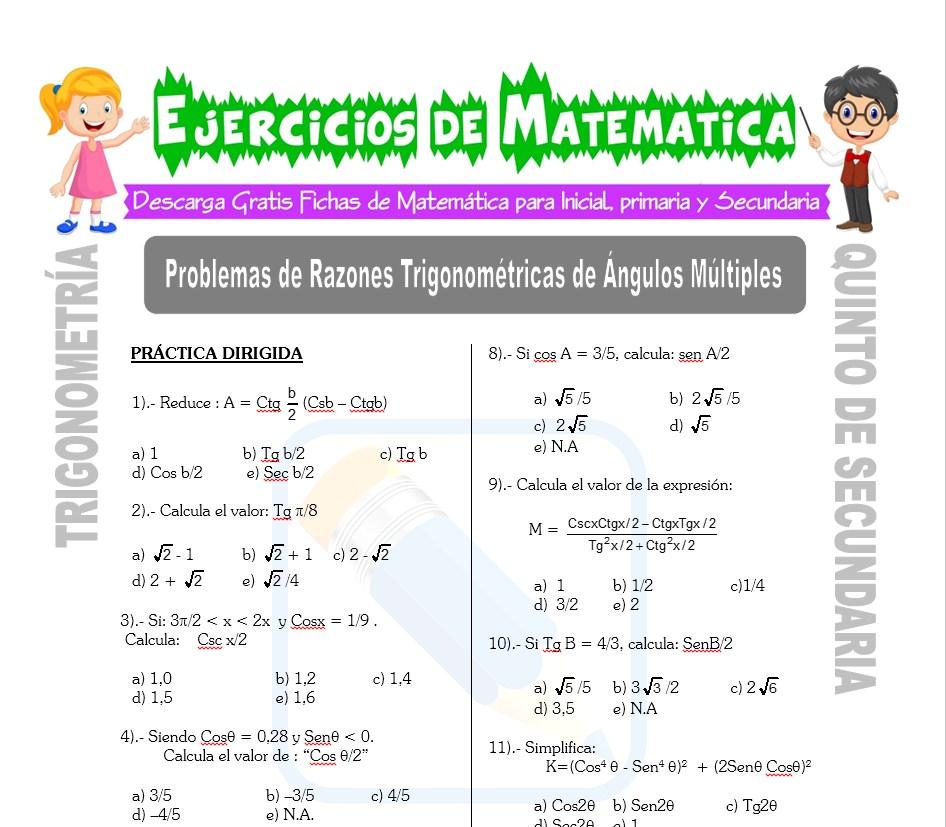 Ficha de Problemas de Razones Trigonométricas de Ángulos Múltiples para Estudiantes de Quinto de Secundaria