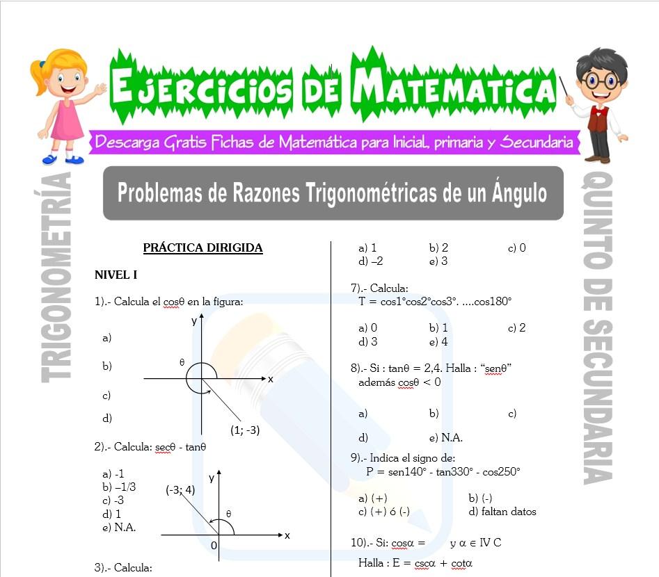 Problemas de Razones Trigonométricas de un Ángulo para Quinto de Secundaria