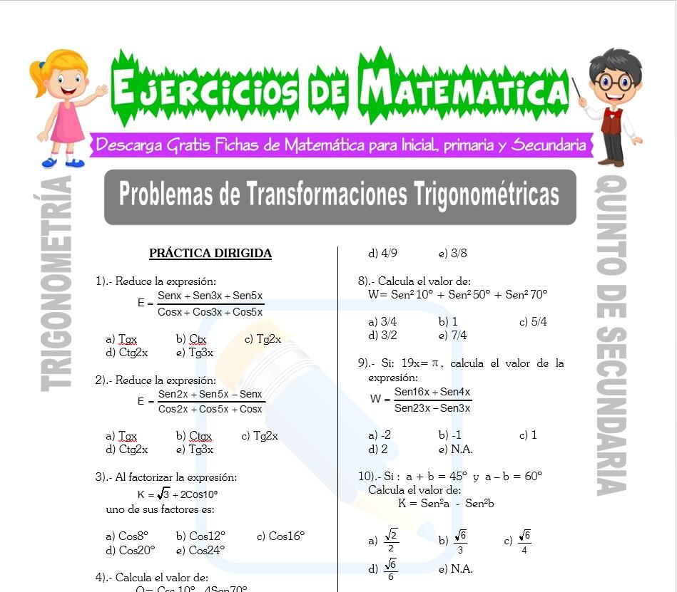 Ficha de Problemas de Transformaciones trigonométricas para Estudiantes de Quinto de Secundaria