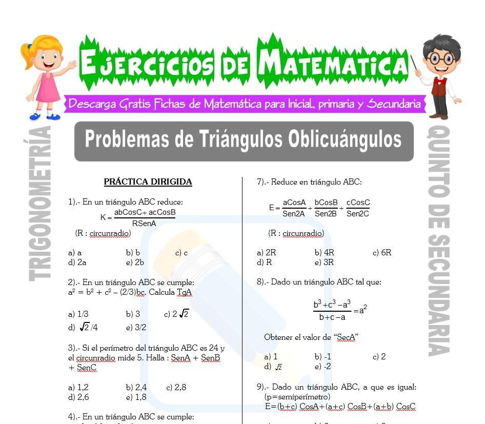 Ficha de Problemas de Triángulos Oblicuángulos para Estudiantes de Quinto de Secundaria