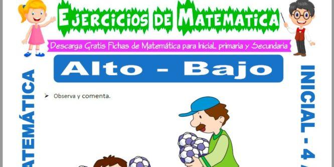 Ficha de Actividades de Alto y Bajo para Niños de 4 Años