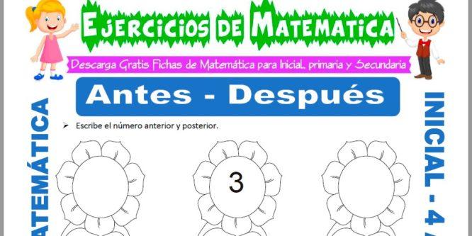 Ficha de Actividades de Antes y Despues para Niños de 4 Años