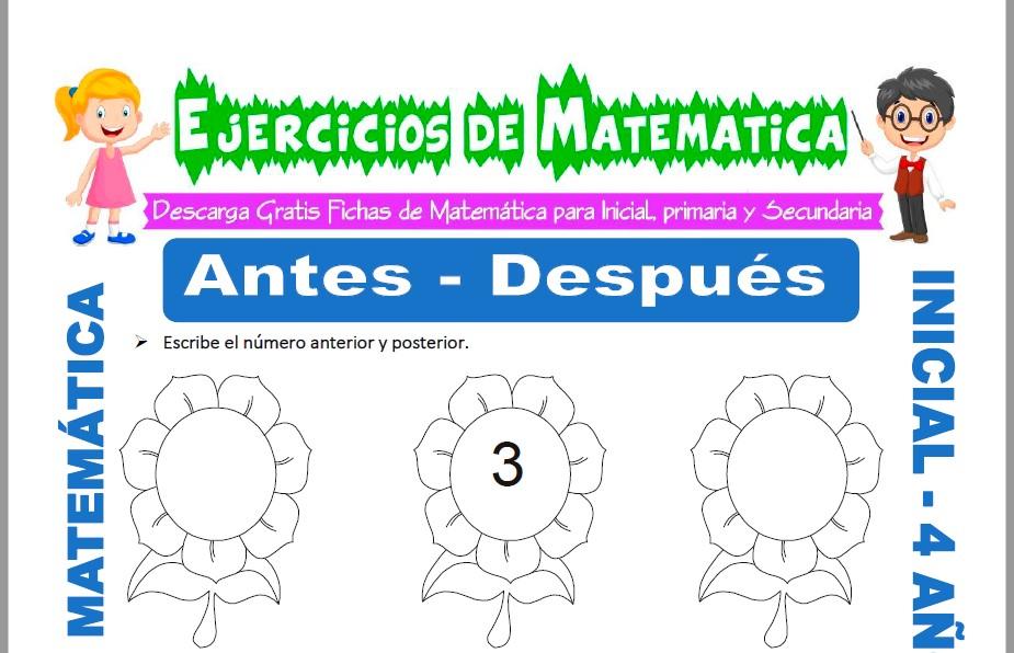 Modelo de la ficha de Actividades de Antes y Después para Estudiantes de Inicial de 4 Años.