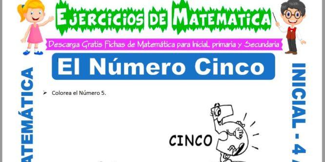 Ficha de Actividades de El Número Cinco para Niños de 4 Años