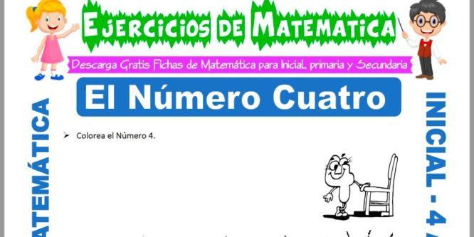 Ficha de Actividades de El Número Cuatro para Niños de 4 Años