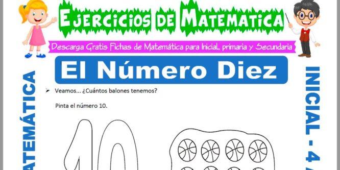 Ficha de Actividades de El Número Diez para Niños de 4 Años