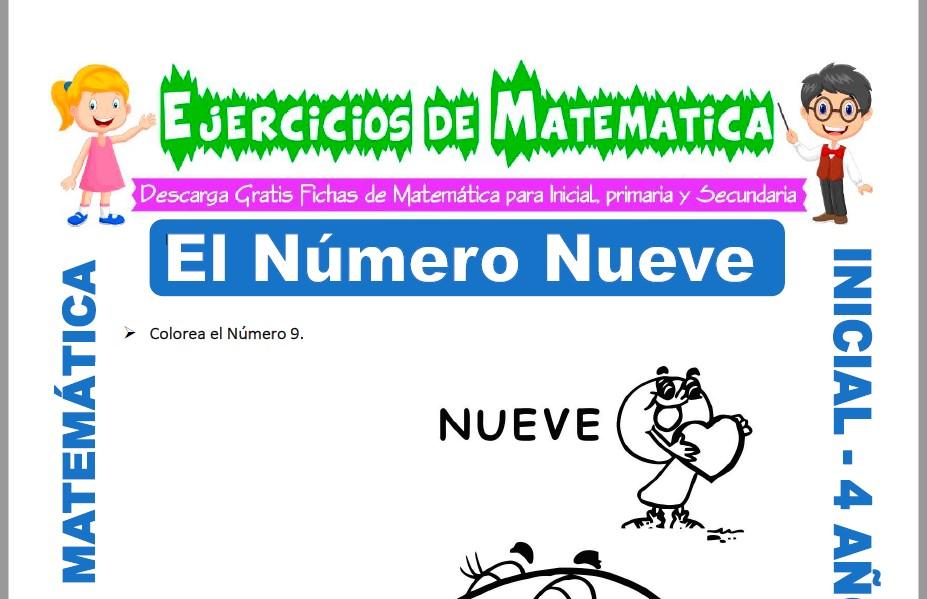 Modelo de la ficha de Actividades de El Número Nueve para Estudiantes de Inicial de 4 Años.
