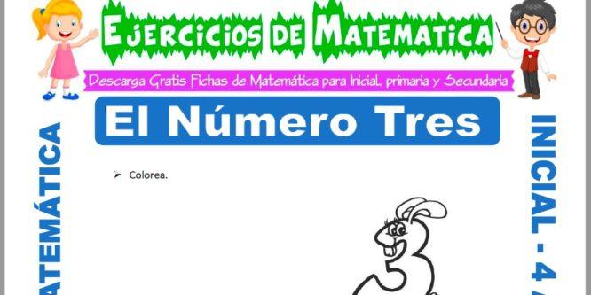Ficha de Actividades de El Número Tres para Niños de 4 Años