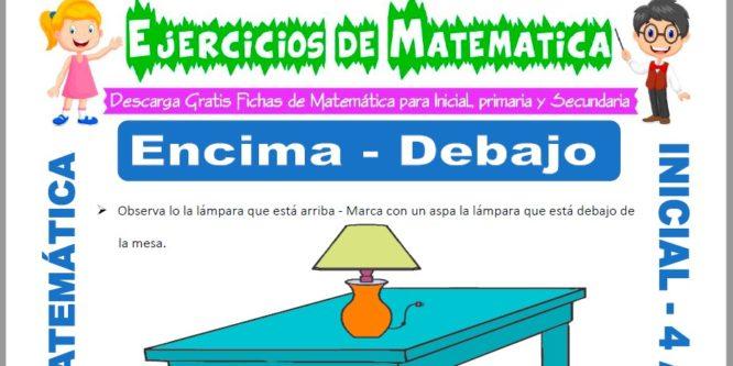 Ficha de Actividades de Encima y Debajo para Niños de 4 Años