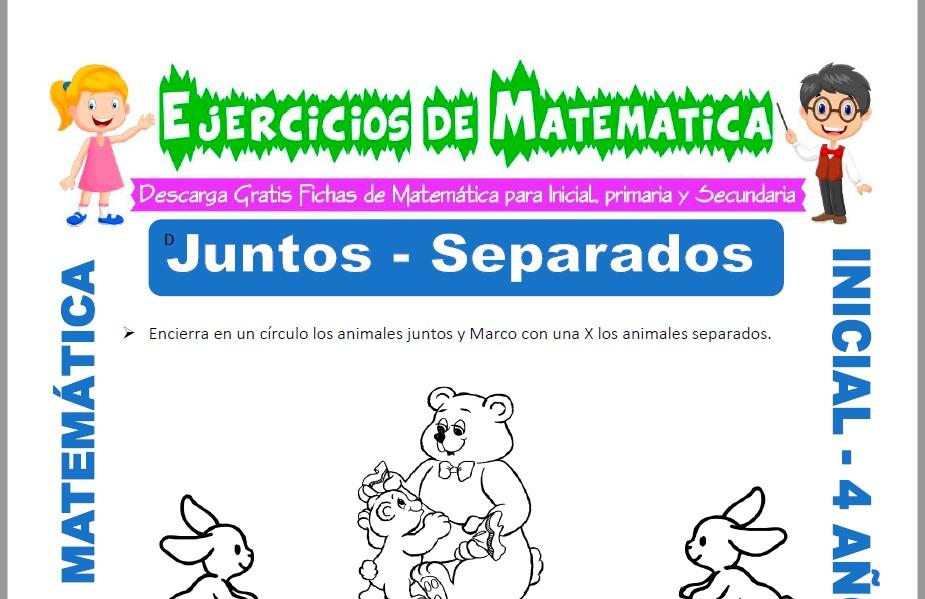 Modelo de la ficha de Actividades de Juntos y Separados para Estudiantes de Inicial de 4 Años.