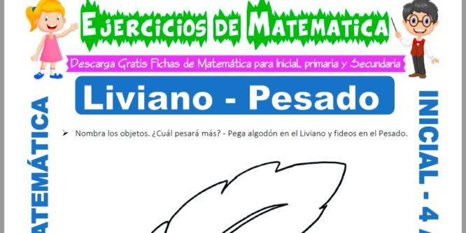 Ficha de Actividades de Liviano y Pesado para Niños de 4 Años
