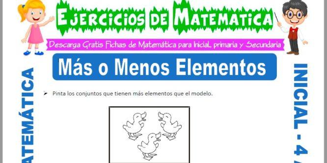 Ficha de Actividades de Menos y Mas Elementos para Niños de 4 Años