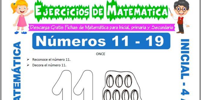 Ficha de Actividades de los Numeros Once hasta Doce para Niños de 4 Años