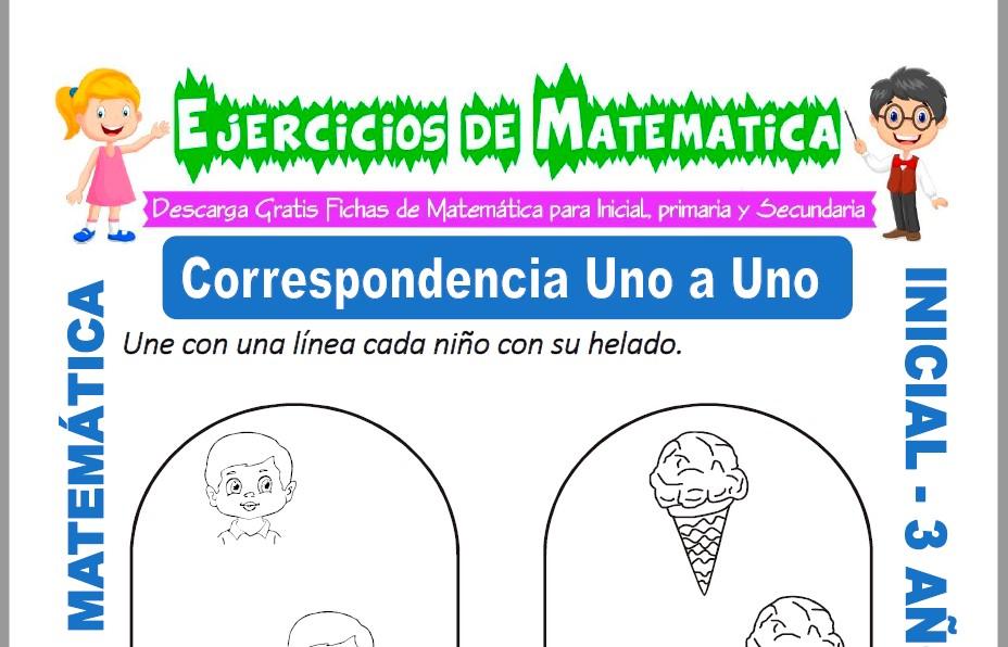 Ficha de Ejercicios de Correspondencia de Uno para Inicial