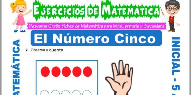 Ficha de Ejercicios de El Número Cinco para Niños de 5 Años