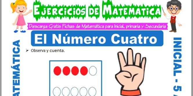 Ficha de Ejercicios de El Número Cuatro para Niños de 5 Años