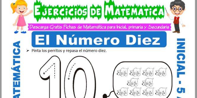 Ficha de Ejercicios de El Número Diez para Niños de 5 Años