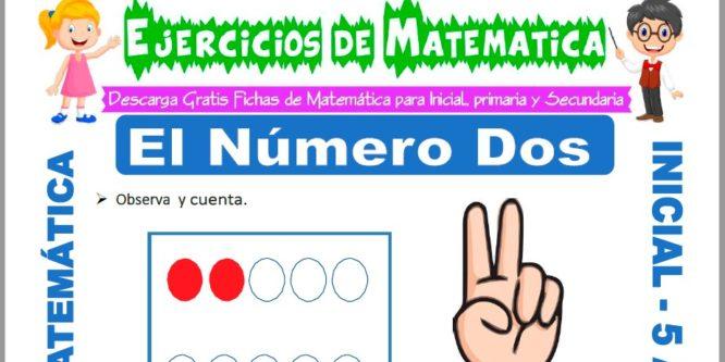 Ficha de Ejercicios de El Número Dos para Niños de 5 Años