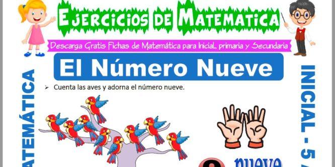 Ficha de Ejercicios de El Número Nueve para Niños de 5 Años