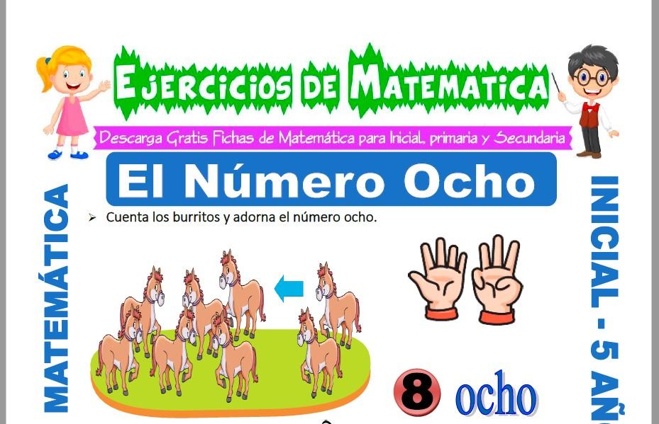 Modelo de la ficha de Ejercicios de El Número Ocho para Estudiantes de Inicial de 5 Años.
