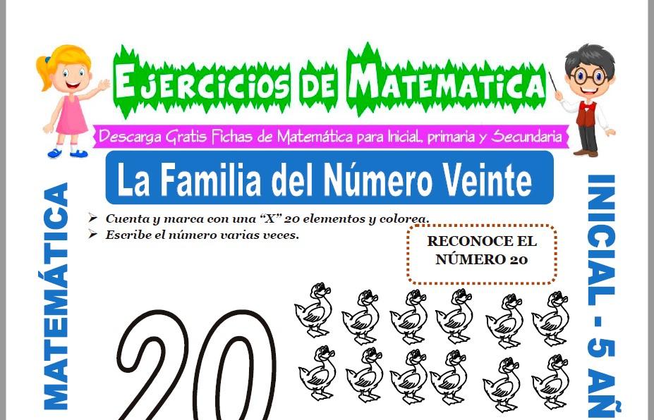 Modelo de la ficha de Ejercicios de El Número Veinte para Estudiantes de Inicial de 5 Años.