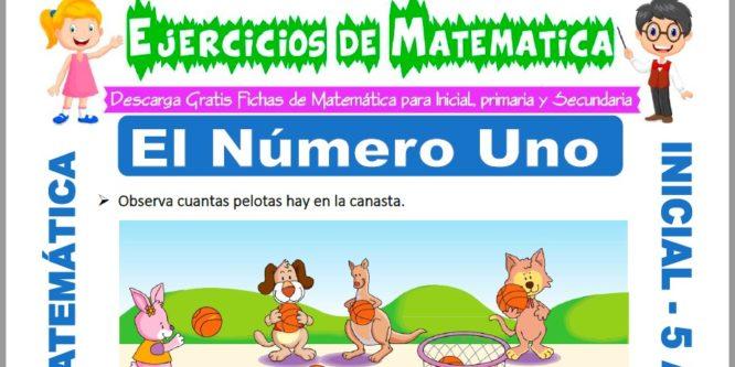 Ficha de Ejercicios de El Numero Uno para Niños de 5 Años
