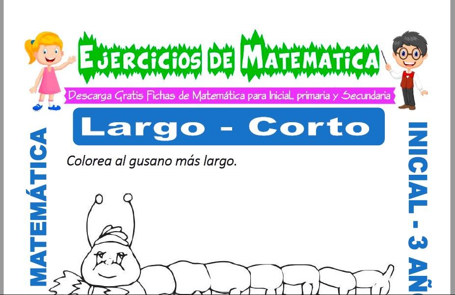 Modelo de la ficha de Ejercicios de Largo y Corto para Estudiantes de Inicial de 3 Años.