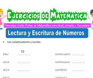 Ejercicios de Lectura y Escritura de Números para Inicial de 5 Años